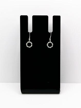Sterling Silver Twisted Ring Drop Earrings