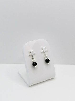 Sterling Silver Star Studs - Black Agate