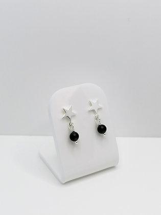 Sterling Silver Star Studs - Black Agate