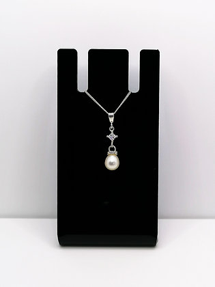 Sterling Silver Pearl and CZ Pendant