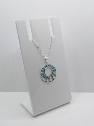 Sterling Silver Patterned Circle Pendant - Blue