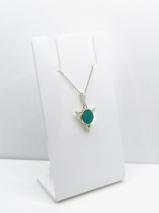 Sterling Silver Triangle Pendant - Turquoise