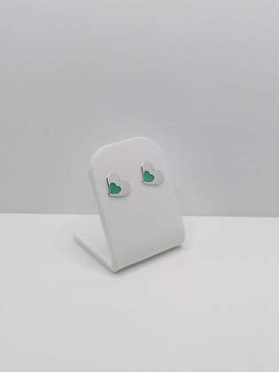 Sterling Silver Heart Studs - Turquoise