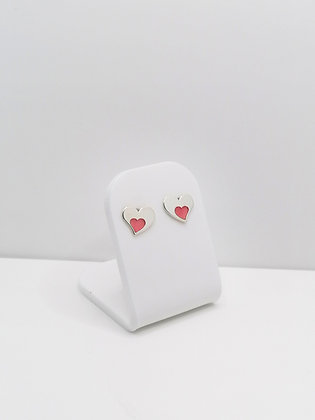 Sterling Silver Large Heart Studs - Red