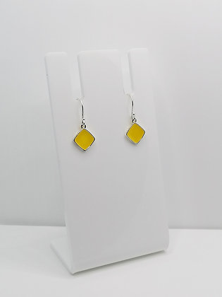 Sterling Silver Square Drop Earrings - Yellow