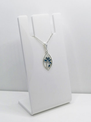 Sterling Silver Flower Stem Pendant - Blue