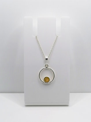Sterling Silver Ring Pendant with Circle -Mustard Yellow