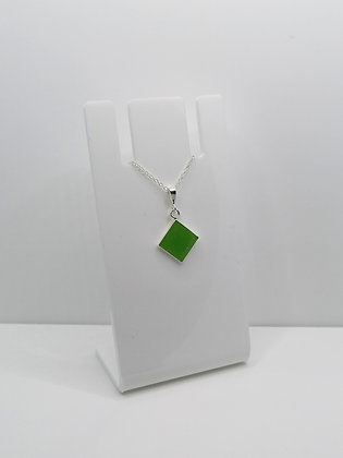 Sterling Silver Diamond Pendant - Green