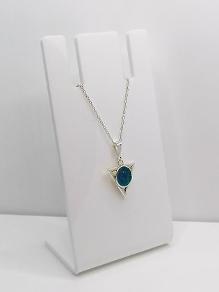 Sterling Silver Triangle Pendant - Blue