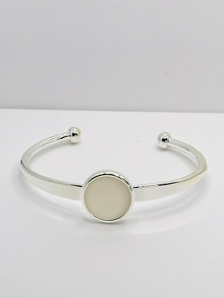 Silver Plated Resin Bangle - Pearl