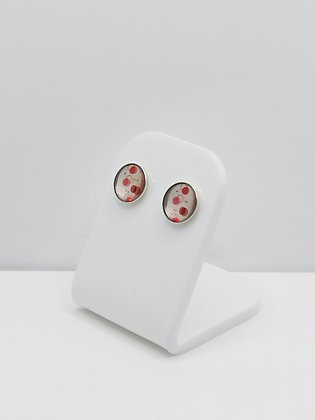 Sterling Silver Red Spot Studs