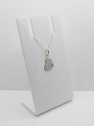 Sterling Silver Multi Heart Pendant - Pale Blue