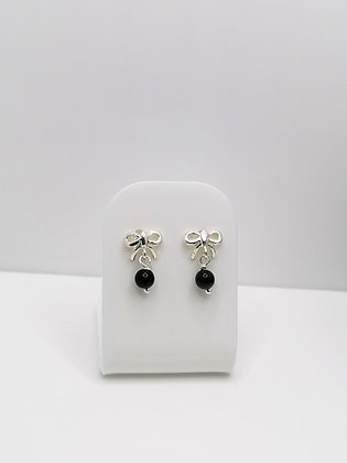 Sterling Silver Bow Studs - Black Agate