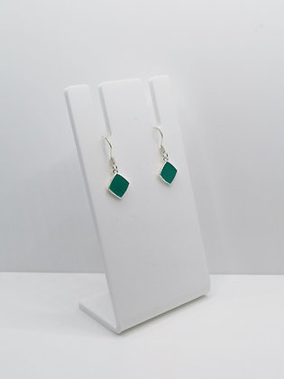Sterling Silver Square Earrings - Turquoise