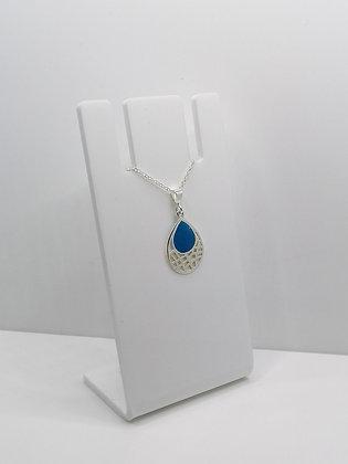 Sterling Silver Patterned Drop Pendant - Blue