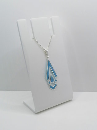 Sterling Silver Shaped Pendant - Blue