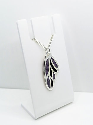 Silver Plated Wing Pendant - Purple