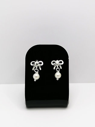 Sterling Silver Bow Studs - Pearl