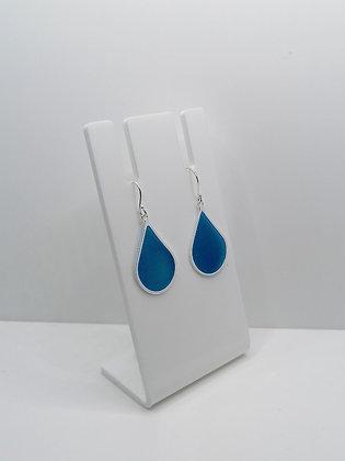 Sterling Silver Large Teardrop Earrings - Blue