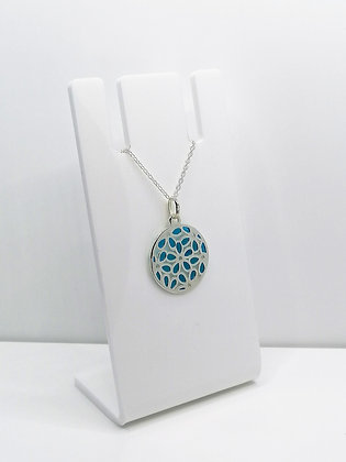 Sterling Silver Round Flower Pendant - Blue