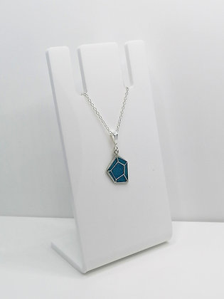 Sterling Silver Geometric Pendant - Blue