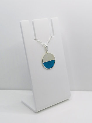 Sterling Silver Semi Circle Pendant - Transparent Blue