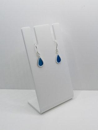 Sterling Silver Teardrop Earrings - Blue