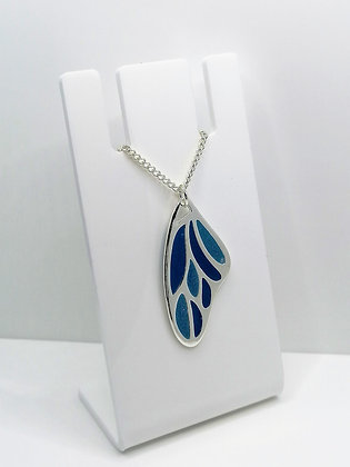 Silver Plated Wing Pendant - Blue