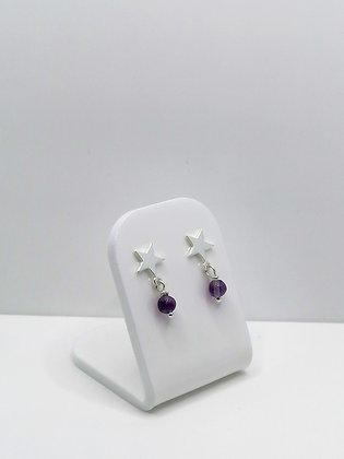 Sterling Silver Star Studs - Purple Fluorite