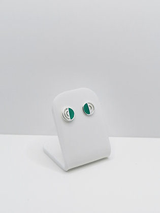 Sterling Silver Detailed Circle Studs - Turquoise