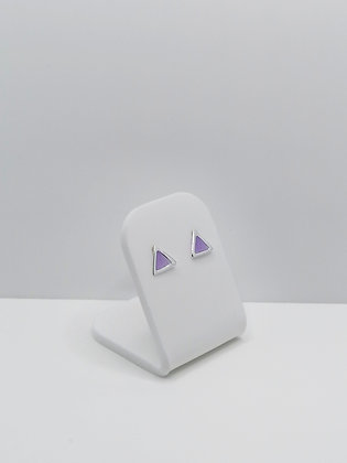 Sterling Silver Triangle Studs - Purple