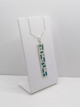Sterling Silver Bar Pendant - Blue
