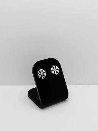 Sterling Silver Snowflake Studs - CZ
