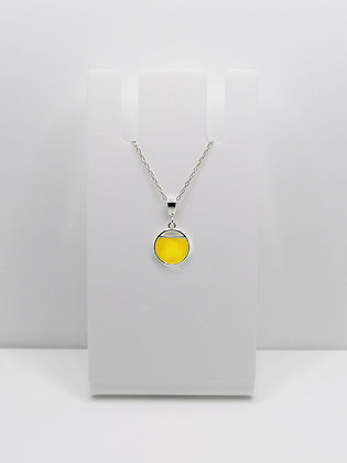 Sterling Silver Small Cutout Circle Pendant - Yellow