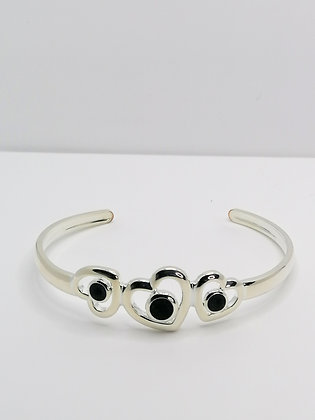 Silver Plated Hearts Resin Bangle - Black