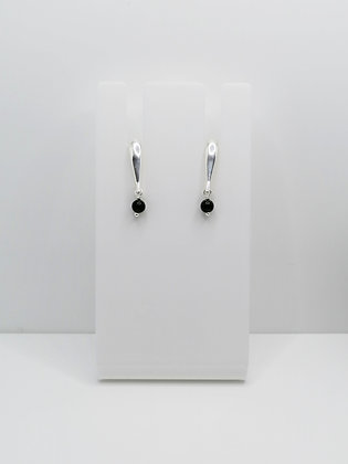 Sterling Silver Bar Studs with Black Agate