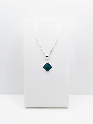 Sterling Silver Small Square Pendant - Teal Blue