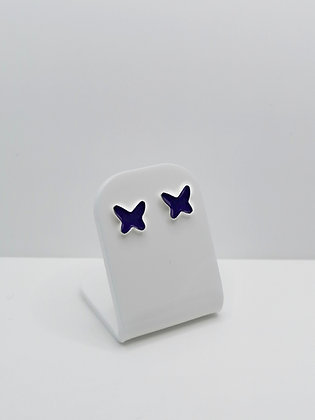 Sterling Silver Butterfly Resin Studs -  Purple