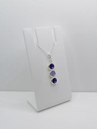Sterling Silver Trio Pendant - Purple