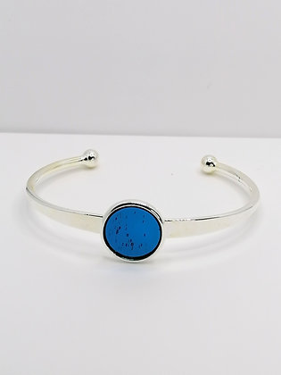 Silver Plated Resin Bangle - Transparent Blue