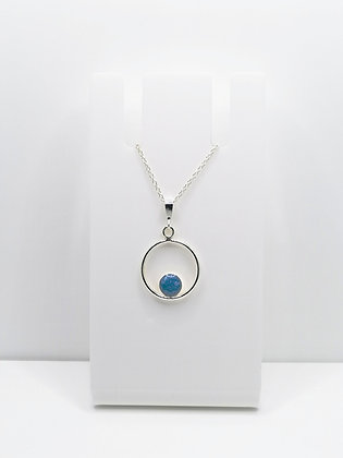 Sterling Silver Ring Pendant with Circle - Pastel Blue