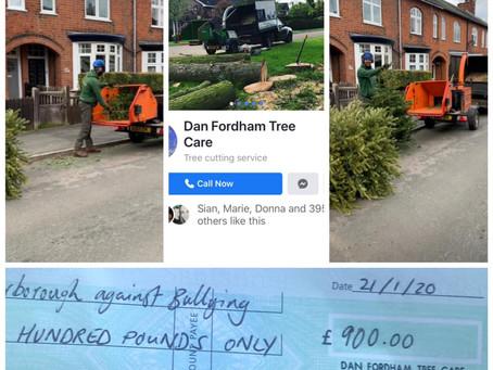Dan Fordham Tree Care raises £900 for HAB-Antibullying