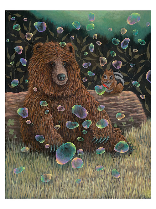 "ART PRINT-""Baby Bear Makes A Friend"""