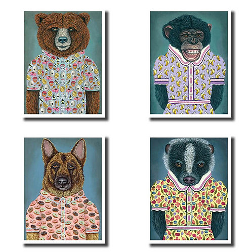 """NOTECARDS- (Set of 8) """"Animals In Clothes"""""""