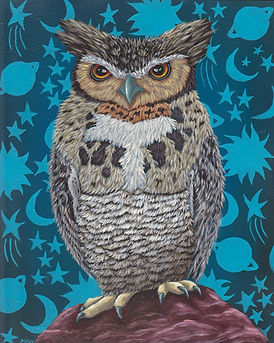 Marisa Ray Great Horned Owl bird paintin