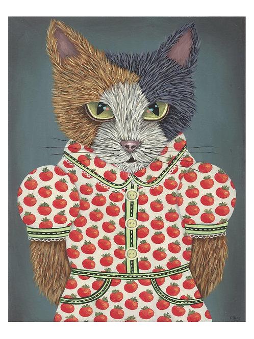 "ART PRINT-""Kitty's Tomato Dress"""