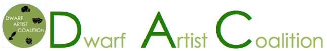A logo image in the color green that spells out Dwarf Artist Coalition