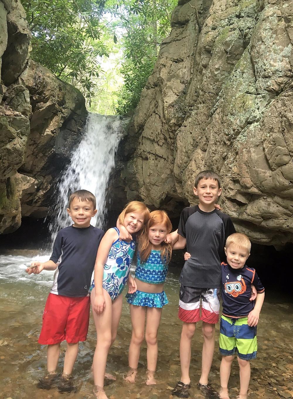 Kids at Blue Hole Falls