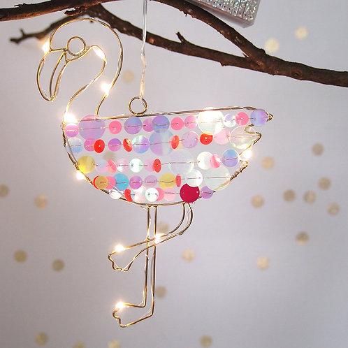 Suspension Flamant rose LED