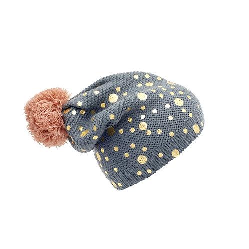 Bonnet gris à pois
